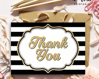 Black and Gold Glitter Stripe Thank You Card |  Printable Instant Download