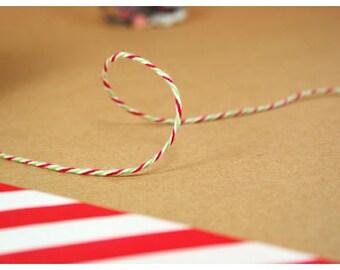 Christmas Twine Christmas Green and Red stripe Twine