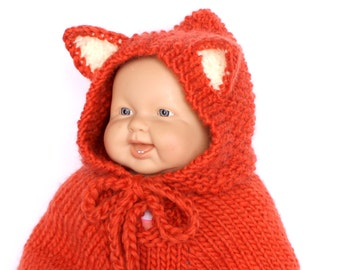 Baby fox costume Baby Halloween costume. Knit baby poncho Fox cape. Baby animal outfit. Children clothing Photo Prop Baby Shower gift