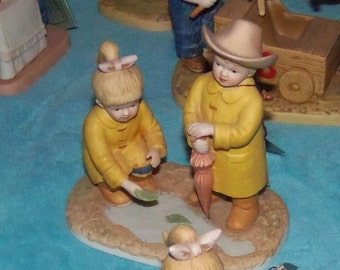Denim Days figurine's from Homco by Home Interiors Debbie & Danny at Play