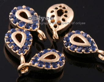 2pcs-8mmX4.5mmBright Gold plated Brass Tiny Tear drop Tag with Cubic Charms pendant bangle-Sapphire(K1054G-C)