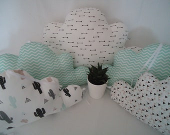 Round bed cushions cactus, arrows, clouds and green water crib 60 x 120 cm