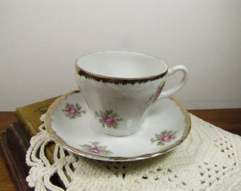 Vintage Small Teacup and Saucer Set - Rose Pattern - Made in Japan