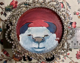 Original Painting of Glamorous White Yak with blue horns on dark red pink wood circle in 4 inch Crystal embellished frame with stand