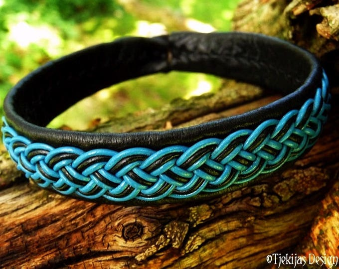 FREKI Viking Bracelet Cuff | Unisex Handmade Leather Sami Bracelet | Norse Folklore Bangle in Black and Turquoise