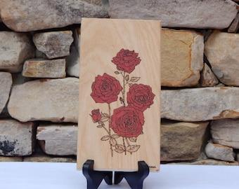 Red Rose Woodburning Pyrography