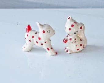 Cute vintage Red Polka Dot Critters-Squirrel-Chipmunk-Deer-Fawn-Cow-Figurine
