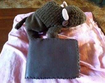 Bison leather bi fold wallet