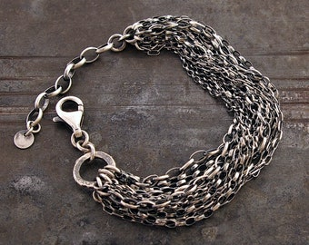 925 sterling silver layered multi strand chain bracelet • oxidised silver Inspirational gift for  her