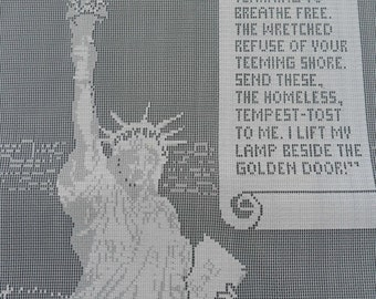 """The Statue of Liberty. Lace Panel Souvenir of Ellis Island, 12""""x18"""" (30x45cm)approx. Scenic Panelss in Lace. Manufactured Circa 1979."""