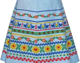 ribbon print skirt - blue - alpine folk trim inspired hand screen printed design