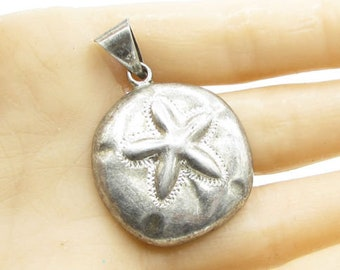 925 sterling silver - vintage sand dollar drop pendant  - p1005