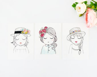 Set of 3 illustrated postcards Ladies , illustration A6 print esencia custome