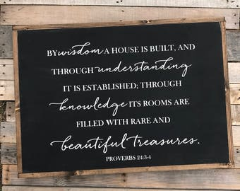 By wisdom a house is built. Proverbs 24:3-4
