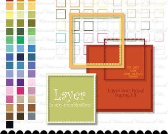 Square frame clip art frame clipart dot frame square digital clipart ornate : e0138  v301