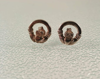 Sterling Silver Claddagh Hands and Heart Pierced Earrings