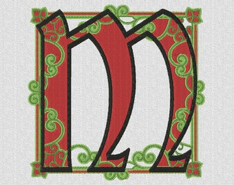Monogrammed machine embroidery letter M ornament