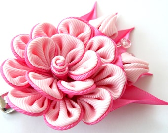 Kanzashi fabric flower hair clip, Pink fabric flower.