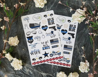 Police wife stickers, law enforcement, leo wife, thin blue line, back the blue