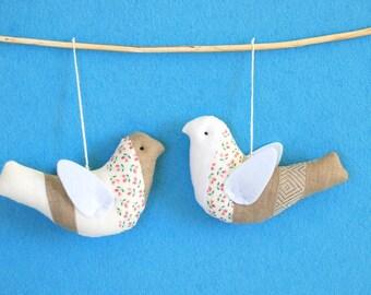 Birds set, fabric birds, linen hanging birds, birds set, bird favors, white brown stuffed  bird, anniversary gift, quilt birds patchwork