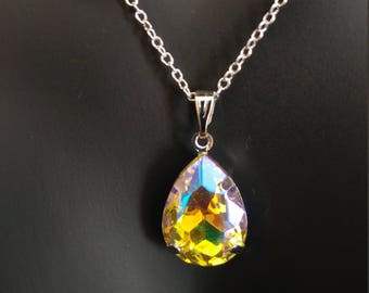 Tear Drop AB Rhinestone Pendant 925 Sterling Silver Stamped Chain Necklace 18 Inches Yellow