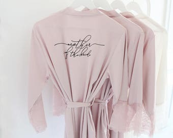 Satin and Lace Bridal Robes - Mother of the Bride Custom Gift White Teal Black Blush Mauve Satin Bridal Party Robes Bridesmaid Robes Lace