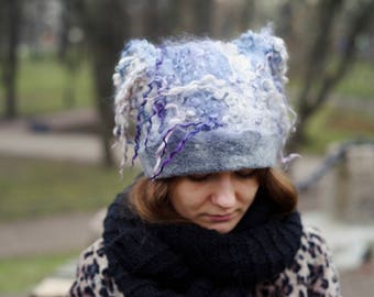 "Women hat Felt hat ""Lilac cloud"" Hat with curls Unique wild handmade Felt cap"