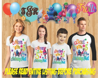 TROLLS Birthday GIRL family Shirts design Raglan Long Sleeve Short Sleeve Tank tops Infant/Toddler Sizes Ladies Cut Tshirt onesie