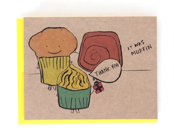 Thank You Muffin baked goods Greeting Card
