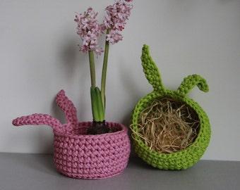 Easter gift/ Bunny basket/ Easter home decor/ Easter eggs basket/ Crochet basket/ Nursery basket