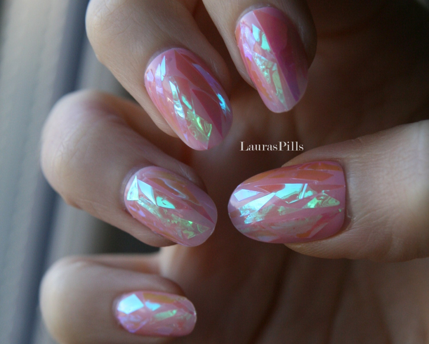 Shattered glass sheer pink press on nails Broken glass nails