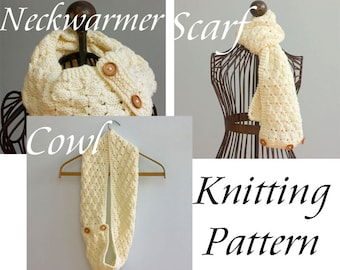 Cowl Scarf Knitting Pattern, Instant Download, Buttoned Neck Warmer Circle Scarf  Pattern, Winter Scarf Pattern, Knit Scarf Pattern