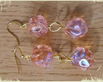Pink Pearl faceted earrings with Garnet