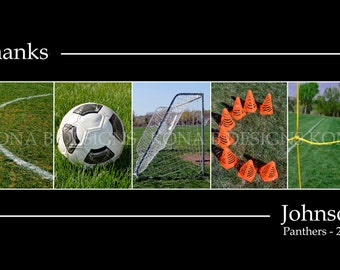 Soccer Coach Gift - Personalized Photo Letter Art-  10x20  Unframed