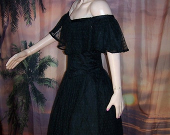 50s Black Dress,  Off shoulder dress, 50s party dress,  Black Lace dress,  Black party dress, size M / L