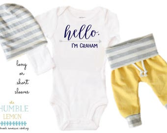 Baby Boy Coming Home Outfit: CHOOSE YOUR COMBO Hello, I'm Personalized Name, Yellow, White and Gray Harem Pants and Reversible Slouchy Hat
