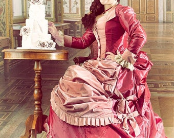 Victorian Day wear/Ball Gown Late Bustle 1880 Romantic Wedding Gown