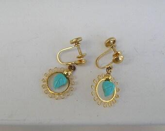 Vintage 12K Gold Filled Sterling Turquoise Leaf Screw Back Earrings Sorrento