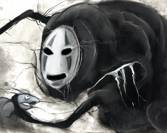 Studio Ghibli Spirited Away No Face charcoal drawing fine art print illustration art giclée film decor ghost artwork geek artwork haku