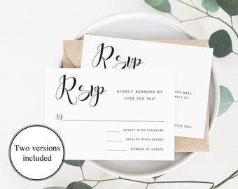 Elegant Wedding Rsvp Cards Wedding Response Cards Editable Rsvp Card Template Calligraphy Font Rsvp Template Wedding Pdf Instant Download