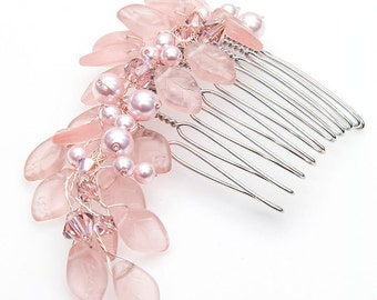 Pink Bridal Hair Comb, Floral Head Piece, Wedding Hair Accessory, Bridal Accessories
