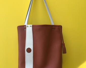 Large Size Brown Leather Shoulder Tote with White Stripe