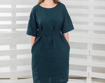 Linen Dress with short sleeves, SAMPLESSALE! Linen dress,Women Linen dress,Forest green dress,Washed and Softened Linen Clothing,Linen Tunic