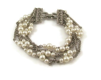 Pearl Chain Bracelet Pearl Bead Mixed Media Wedding Bracelet Vintage Bracelet Pearl Bracelet Gift For Her Multi Strand Bracelet Silver Chain