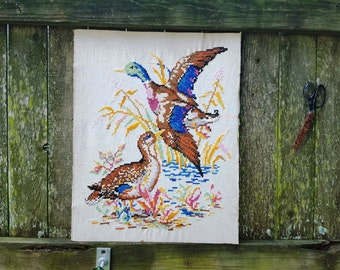 Vintage Needlepoint, Duck Cross Stitch, Flying Duck, Country Cross Stitch, Ducks, Tapestry, Antique Cross Stitch, Vintage Cross Stitch