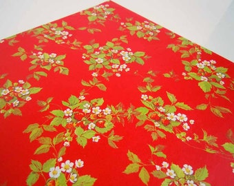 Vintage 1970's Birthday Gift Wrap Paper Red Strawberries Strawberry Wrapping Paper