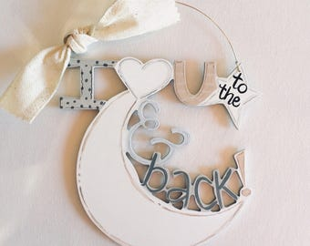 I love you to the moon and back Ornament - Moon and Back - personalized ornament - painted ornament - baby child ornament -  rustic - wood