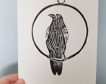 The Raven Trapeze Artist - Limited Edition 5x7 Block Print