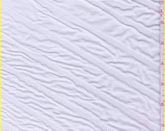 White Puckered Novelty Knit, Fabric By The Yard