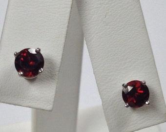 Natural Garnet Stud Earrings 925 Sterling Silver